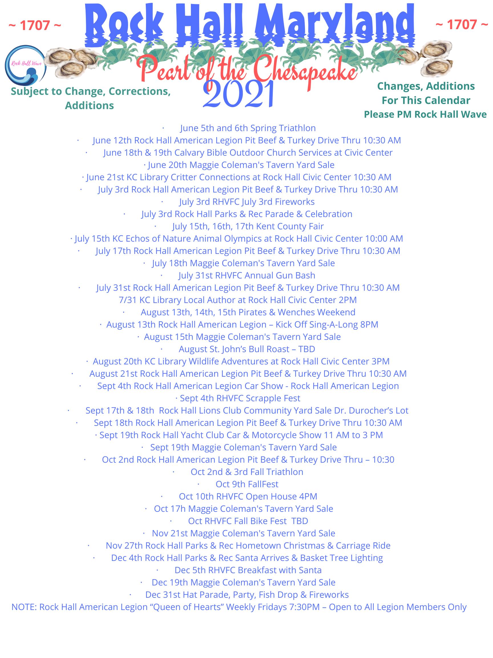 Calendar as of 6-1-21