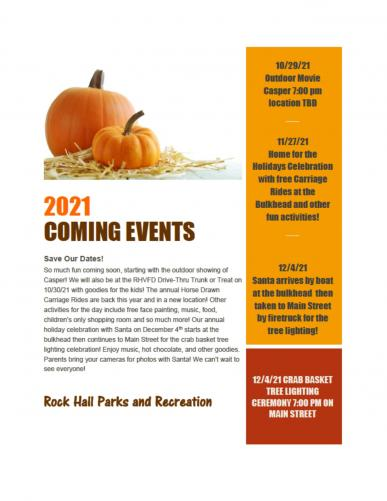 Coming Events - Fall 2021